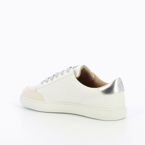 White sneakers with silver laces