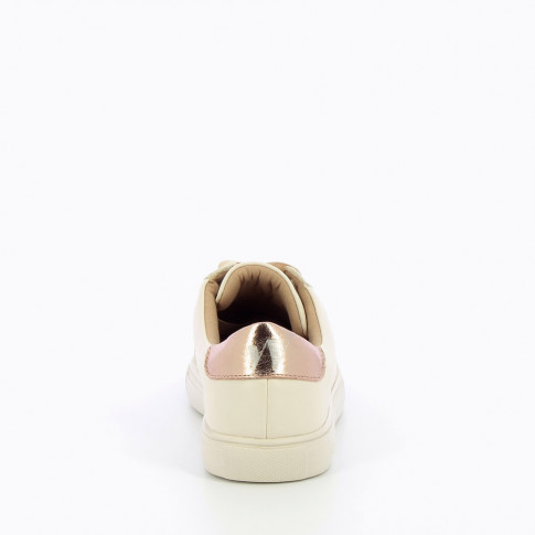 Nude sneakers with ribbon laces