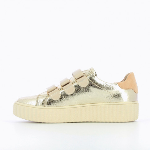 Baskets or et nude à semelle creepers