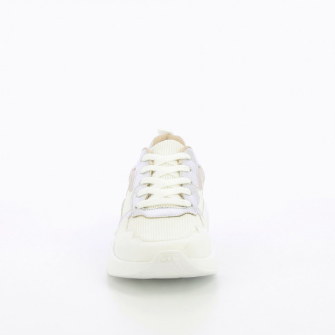 White mesh sneakers with silver detailing