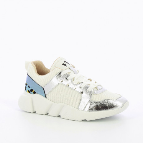 White mesh sneakers with silver and blue detailing