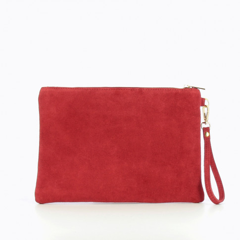 Large suede clutch in wine red