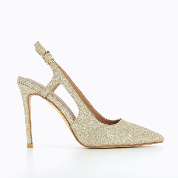 Gold glittery slingback pumps