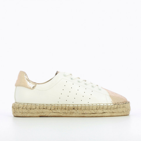 White espadrille sneakers with gold vamp