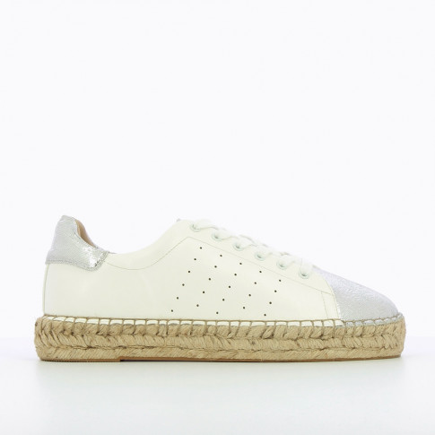 White espadrille sneakers with silver vamp
