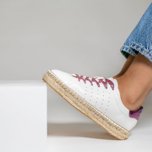 White espadrille sneakers with bright magenta laces