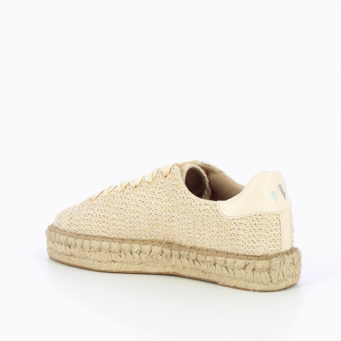 Cream raffia effect espadrille sneakers
