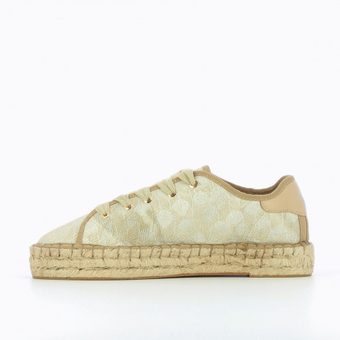 Espadrille sneakers with silver feather patterns
