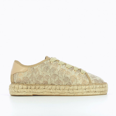Espadrille sneakers with gold feather patterns