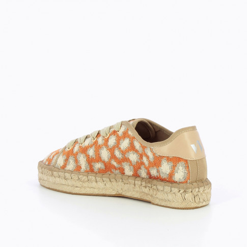 Orange espadrille sneakers with woven leopard print