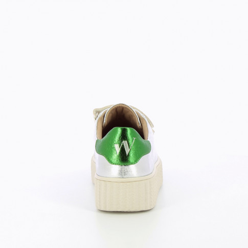 Silver sneakers with creeper sole