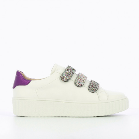 White sneakers with creeper sole