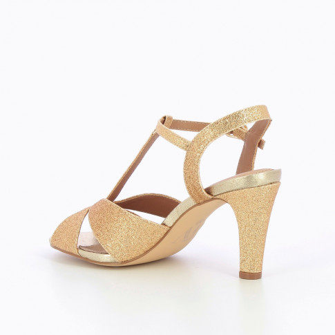 Glittery gold salomés with heel