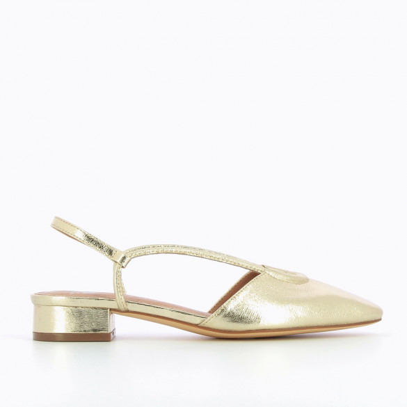 Flat Mary Janes in textured gold