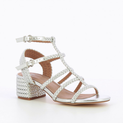 Silver braided sandals with heel
