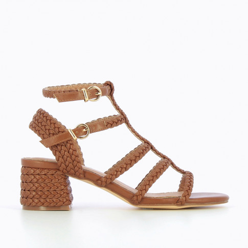 Camel braided sandals with heel