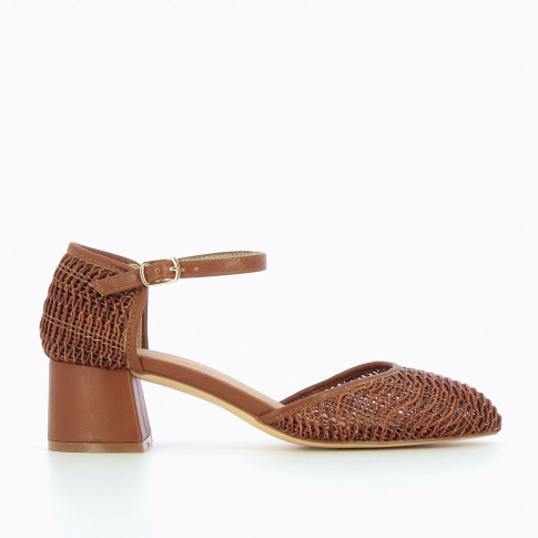 Coffee braided Mary Janes with heel