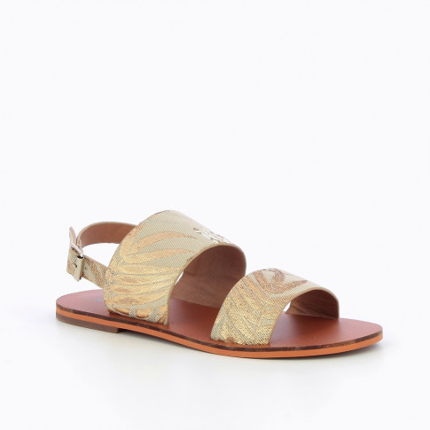 Sandals in Jacquard fabric with large straps