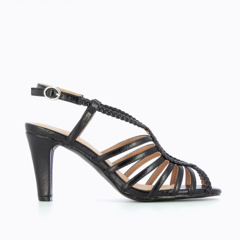 Black braided cross-strap sandals with heel