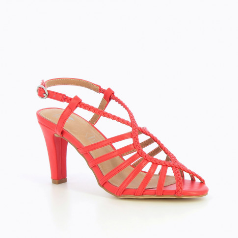 Coral braided cross-strap sandals with heel