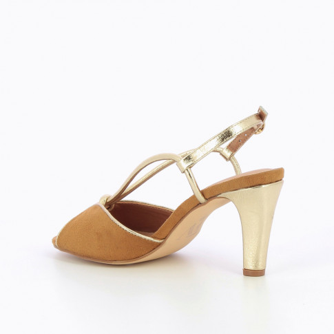 Camel sandals with champagne bow-strap