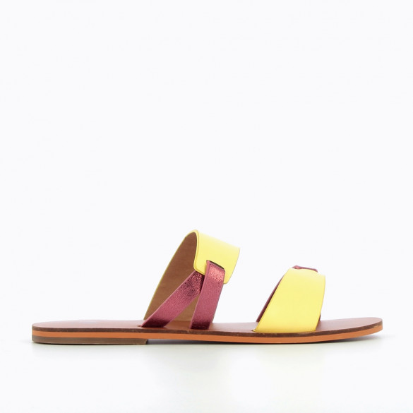 Yellow and metallic pink mules