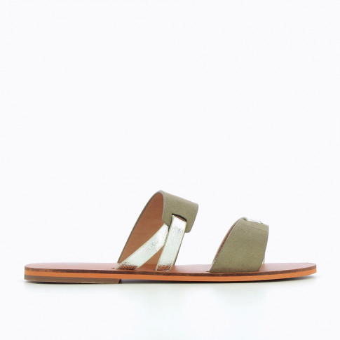 Khaki green and silver mules