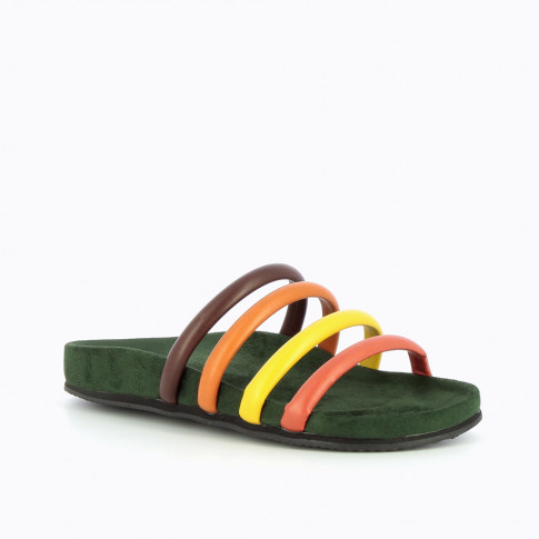 Green mules with multicoloured straps