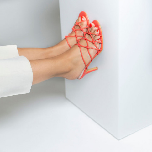 Coral mules with bowed straps