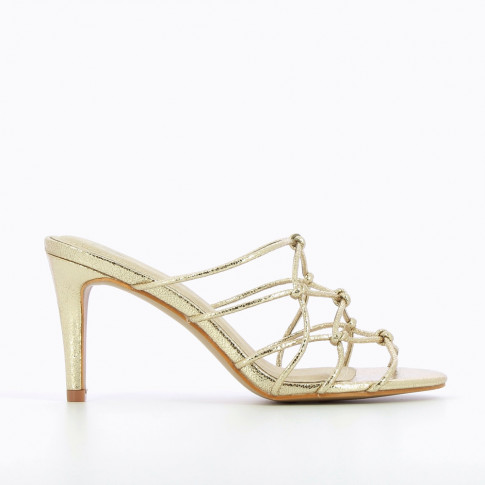 Gold mules with bowed straps