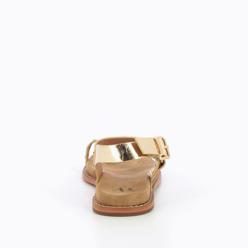 Gold toe-loop sandals with studs