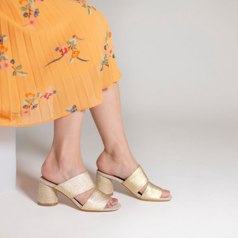 Gold tweed effect mules with rope heel