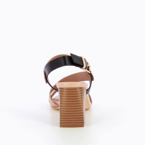 Rose gold and pink sandals with riveted straps