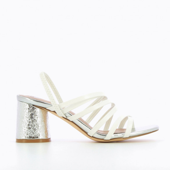 White multi-strap sandals with silver heel