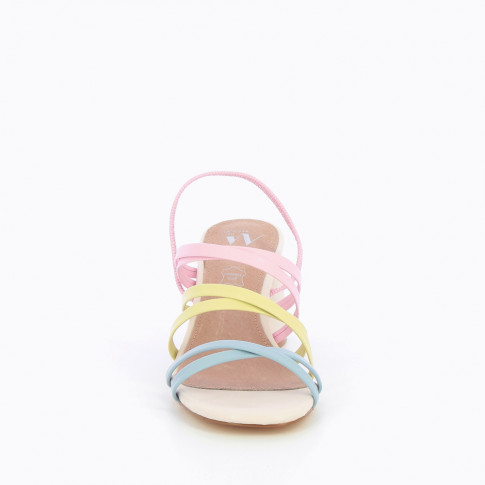 Pastel multi-strap sandals with nude heel