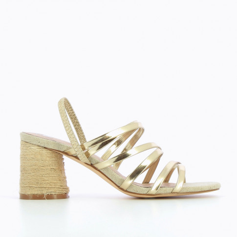 Gold multi-strap sandals with rope heel