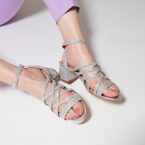 Glittery silver multi-strap sandals with heel