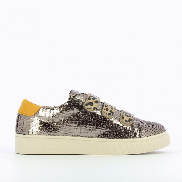 plateau sneakers women charcoal crackled leopard print velcro Vanessa Wu