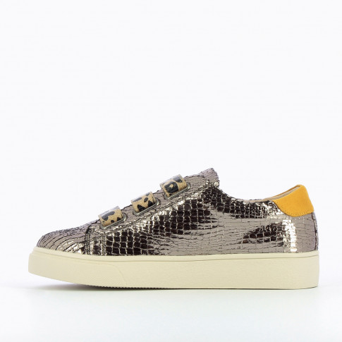 Charcoal crackled effect sneakers with leopard velcro