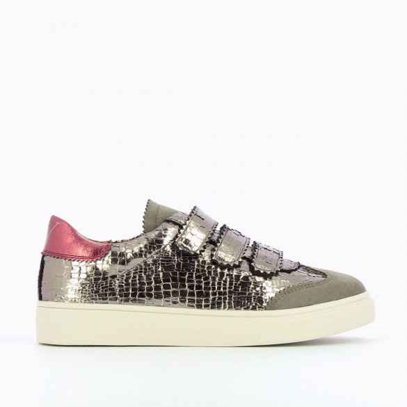 womens sneakers Vanessa Wu bi-material charcoal crackled effect gray suedette fuschia detail velcro