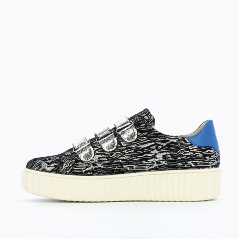 Zebra and silver sneakers with creeper sole