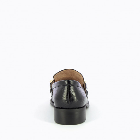 Black loafers with gold chain