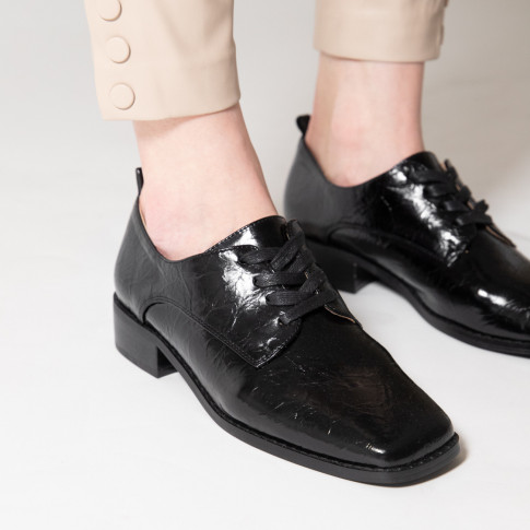 Black square toed brogues