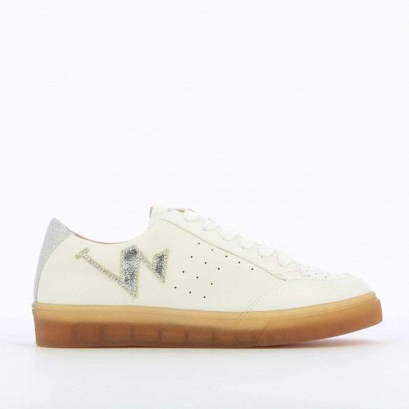 citywear sneakers woman Vanessa Wu leather effect white rubber sole brown with silver logo