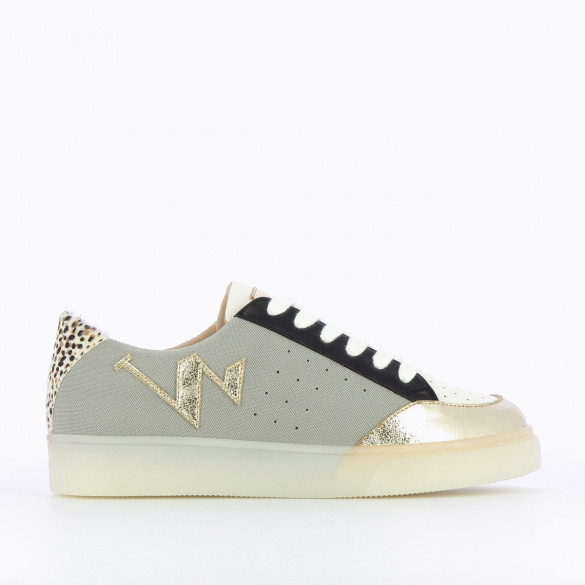 citywear sneakers woman Vanessa Wu grey mesh with gold toe and transparent white rubber sole