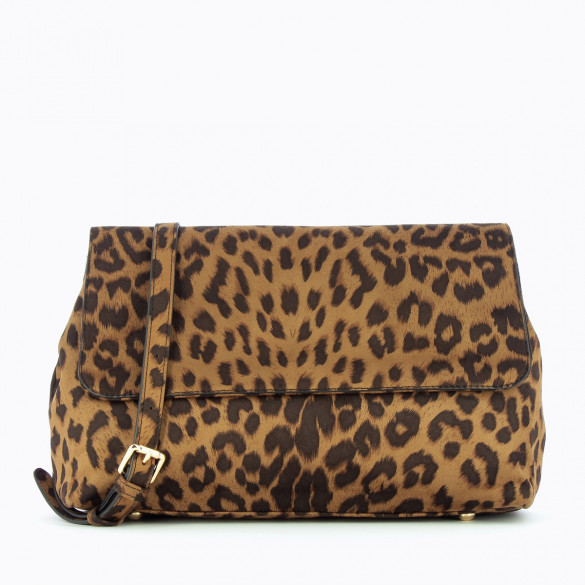 leopard print handbag velvet effect with shoulder strap and handle woman Vanessa Wu