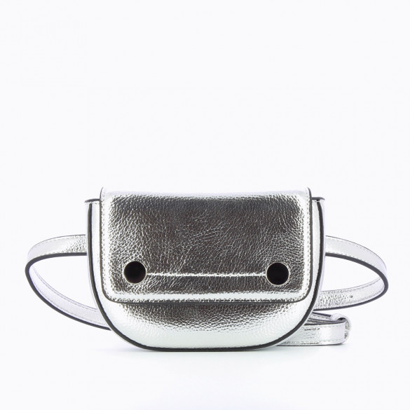 small fanny bag silver metallic effect in faux leather with two silver snap fasteners woman Vanessa Wu