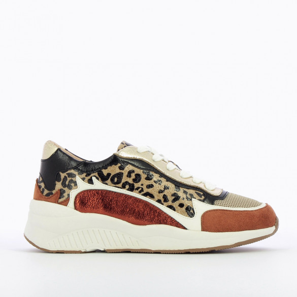 womens sneakers large white sole Vanessa Wu leopard details brick red bronze gold black