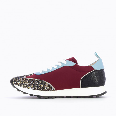 Burgundy lightning sneakers with track sole