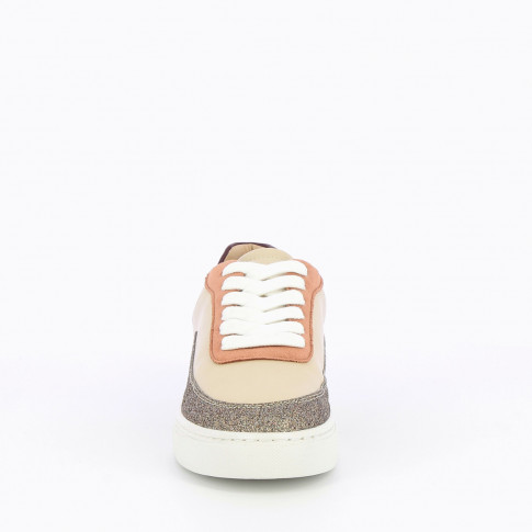 Beige sneakers with multicolored yokes